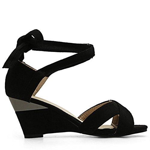 Lacets Toe Chaussures Sandales Hauts Soiree Talons Noir Mode Femmes Peep TAOFFEN Compenses qEva0CWn