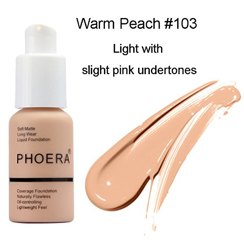 Flawless Matte Liquid Foundation Concealer, Long Lasting Waterproof Matte Concealer Cream Foundation Moisturizing Base Cover Cream, Oil Control Facial Blemish Concealer (PHOERA Warm Peach #3)