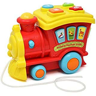 Push and Pull Music Toy for Toddlers and Baby, Interactive Learning Sing Along Train, Animal and Number Count Activity Truck