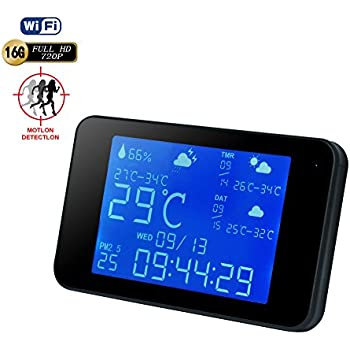 WiFi Weather Station Clock Hidden Camera -BSTCAM Wireless Weather Station clock camera 1080P Wifi Night Vision Hidden Spy Nanny IP Weather Station Video Recorder support 64GB SD Card[Not Included]