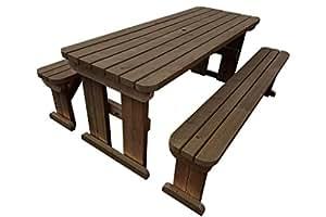Aspen redondas de madera asiento de banco de mesa de picnic Set–6ft–rústico marrón–Heavy Duty–muebles de jardín hecho a mano en el Reino Unido–tratada a presión