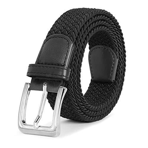 Braided Square Buckle Belt - Black Men's Stretch Woven Belt 1.3