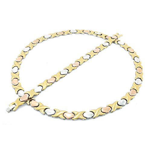 Three Tone Necklace - NEW 11mm Width Womens Three Tone (Gold Rose & Silver) XOXO Stampato Necklace and Bracelet Set 18/20