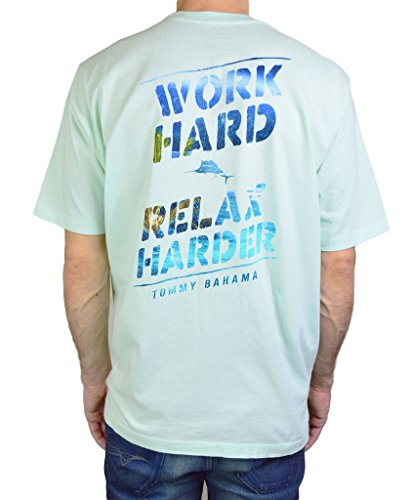 Tommy Bahama Men's Work Hard Relax Harder T-shirt Size Small in Ice Turquoise