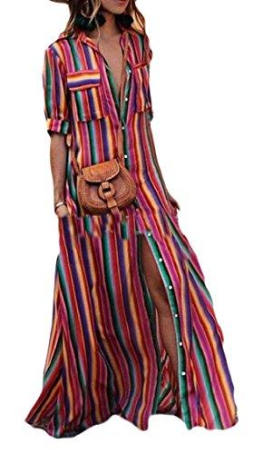 Split Stripe Buttons Colorful Beach with Pocket 1 Sleeve Half Shirt Jaycargogo Dress Long Women's xXqI00
