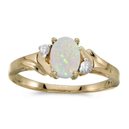 0.29 Carat ctw 14k Gold Oval White Opal & Diamond Bypass Swirl Engagement Anniversary Fashion Ring - Yellow-gold, Size (14k Gold Diamond Swirl Ring)