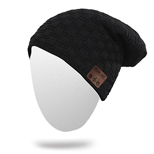 Onedayshop Wireless Knitted Beanie Built-in Stereo Speaker for Listening Music Hands Free Call Answer Hat (black2)
