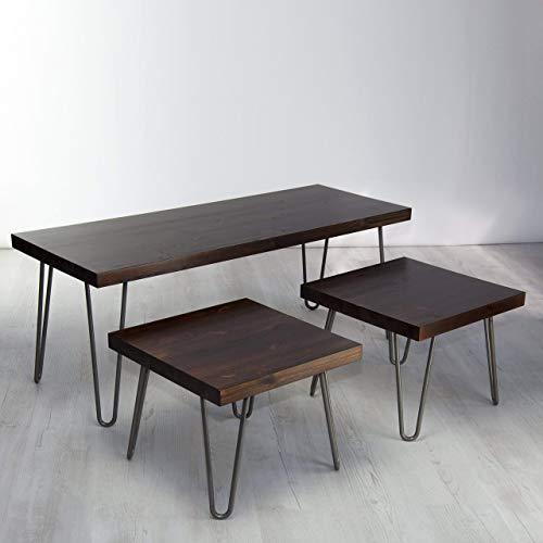 Vintage Industrial Solid Wood Coffee Table Set Three Table