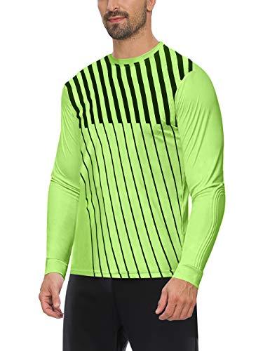 ChinFun Green & Black Stripes Soccer Goalkeeper Jersey Adult Long Sleeve Football Padded Goalie Shirt
