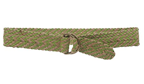 MONIQUE Women D Ring Jute Braided Woven Sash Synthetic Leather 2'' Wide Belt,Green S/M - 37 End To End