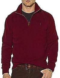 Men's Half Zip French Rib Cotton Sweater (Medium, Classic...