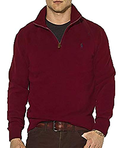 Half Wine French Cotton Polo Men's Ralph SweatermediumClassic Zip Lauren Rib 8N0mnw