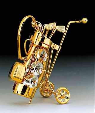Golf Club Set 24K Gold Plate Swarovski Crystal Ornament ()