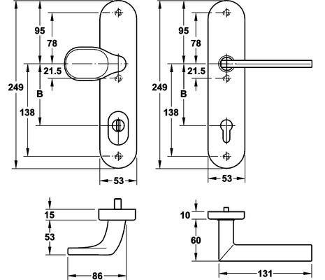 HOPPE-Edelstahl-Schutz-Beschlag f/ür WOHNUNGST/ÜREN Modell Stockholm mit ZA