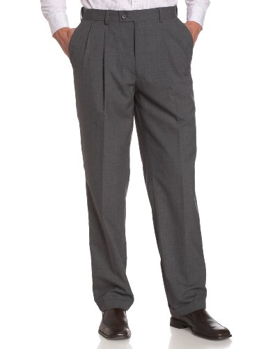 Louis Raphael LUXE Men's 100% Wool Pleated Dress Pant with Hidden Extension Waist Band,Med Grey,42x32 (Dress Pleated Grey Pants)
