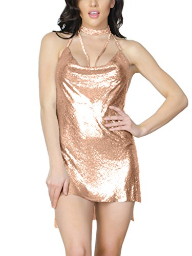 S Curve Women's Sleeveless Chain Halter Metal Backless Party Dress Champagne (Chain Back Halter)