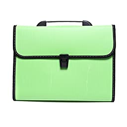 Expanding Accordion File Folder Hemming with Handle Buckle Closure and Subject Labels 13-Pockets A4 Size 4Colors (Green)
