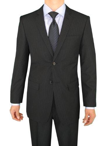 Marzzotti Gianni 2 Button Modern Fit Business Men's Suit 44L Black Pinstripe