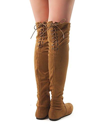 RF RAUM DER MODE Frauen Mode Bequeme Vegane Wildleder Seitlichem Reißverschluss Overknee Stiefel Kamel Su
