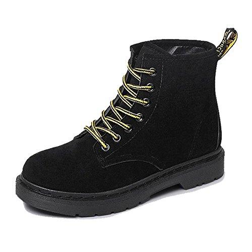 wdjjjnnnv Women Ankle Short Martin Boots Leather Suede Flat Heel Winter Warm Casual Shoelace Cotton Retro Shoes 36 Ufzocswo
