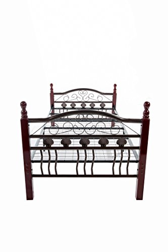 Home Source Industries 10436 Decorative Full Metal Bed with Sturdy Wooden Posts, Bronze