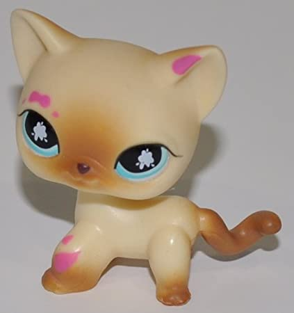 Littlest Pet Shop Pink and Maroon Accented Poof Tail Short Hair Cat #1679