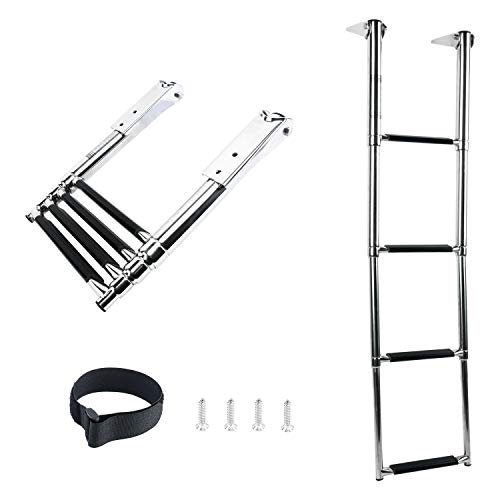 DasMarine 4 Step Ladder 316 Stainless Steel Telescoping Ladder, 900 Pound Capacity for Marine Yacht/Swimming Pool with Retaining Strap (4 Step -