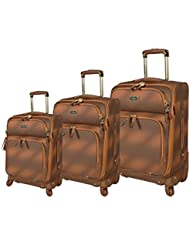 Steve Madden Luggage 3 Piece Softside Spinner Suitcase Set Collection (One Size, Shadow Brown)