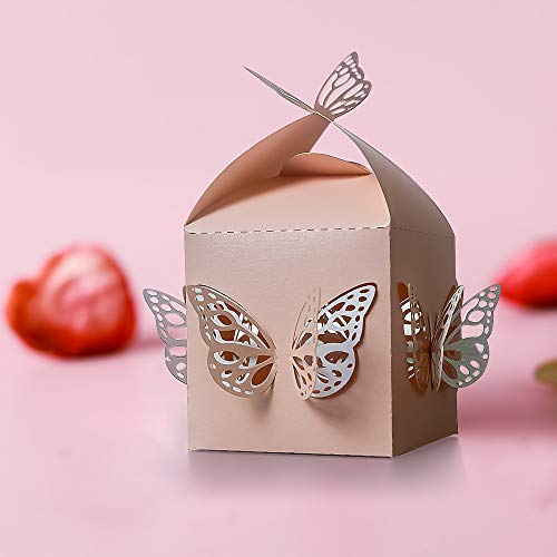 Wedding Party Candy Favor Boxes - 30pcs 2.3inch Unique Double Layer Butterfly Favor Treat Gift Box Paper Favor Boxes for Wedding, Baby Shower,Engagement, Bridal Shower, Party, Baptism (Pink) ()
