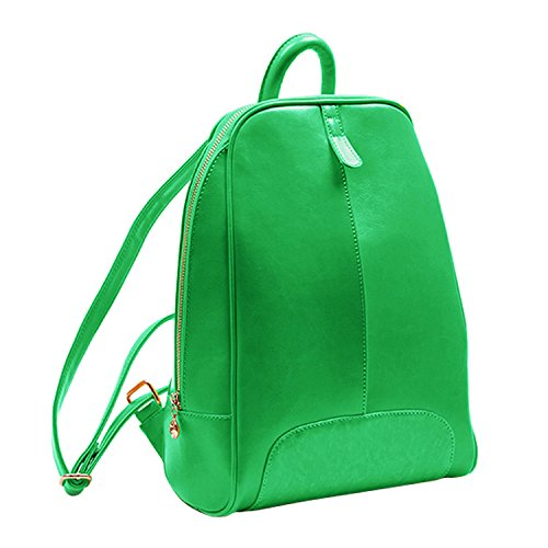 Shijinshi Women's Green Leather Pure Color Backpack Shoulders Bag by Shijinshi