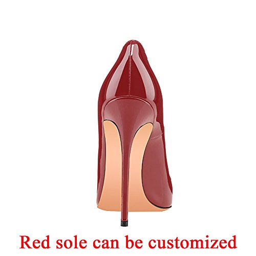 Women's Large Red Party Size Evening High Heels Wine On Stilettos Modemoven Shoes Wedding Pumps Slip Pointy Toe 8qZ8xdA