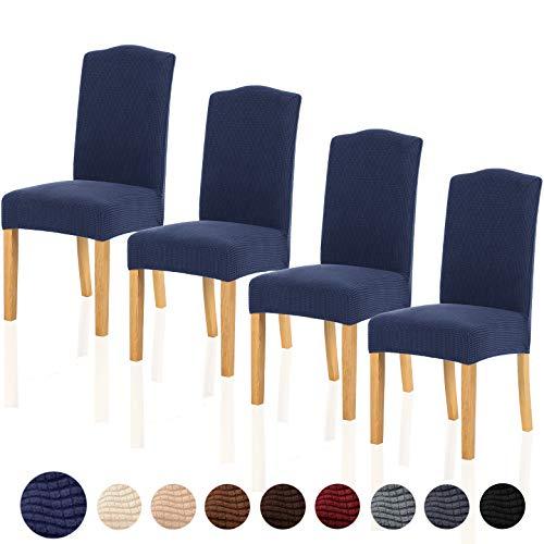 TIANSHU Stretch Chair Cover for Home Decor Dining Chair Slipcover (4 Pack, Navy Blue) (Dining Chair Slipcovers Blue)