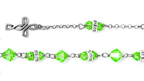 925 Light Green Swarovski Crystal Rosary Bracelet & Lourdes Prayer Card