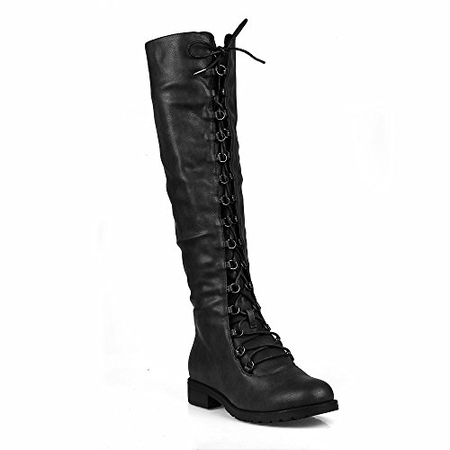 Travis 05B Womens Knee High Lace Up Combat Boots