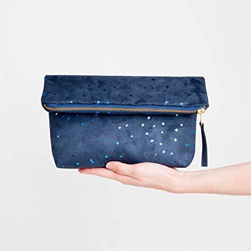 Indigo Fold Over Clutch Purse, Faux Suede Evening Bag, Metallic Flakes Handbag, Designer Foldover