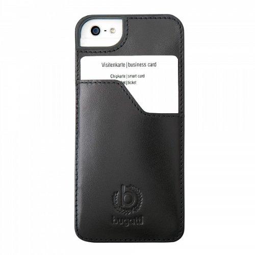 ClipOnCover (mit Visitenkartenfach) Leder Tasche Case schwarz von bugatti passend für Apple iPhone 5