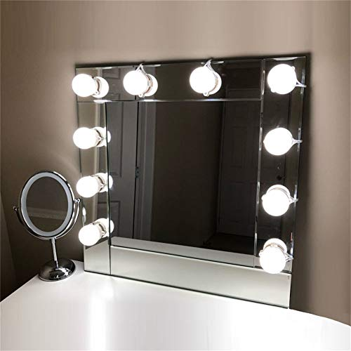Lvyinyin 14 Vanity Lights Kit Hollywood Style Makeup Mirror LED Bulbs with Stickers Attached to Bathroom Wall or Dressing Mirrors, Touch Dimmable, Plug in UL Adapter, Daylight, Mirror Not Included