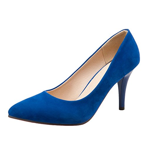 SJJH Working Heels with Thin Heel and Pointed Toe Comfortable Business Court Shoes Blue T1fiF