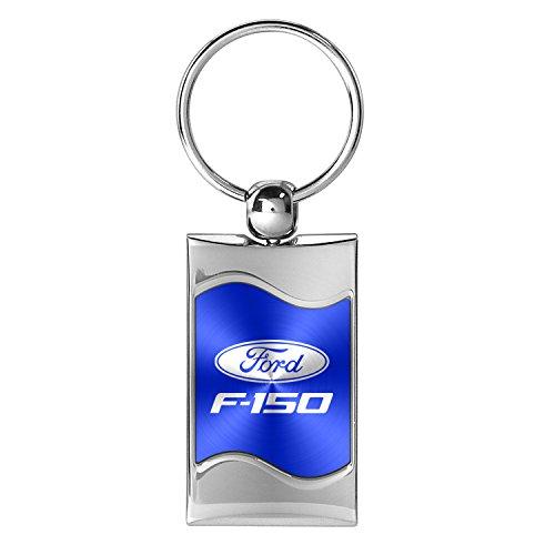 (Ford F-150 Blue Spun Brushed Metal Key Ring )