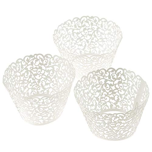 ELENKER 120pcs Cupcake Wrapper Lace Laser Cut Filigree