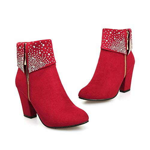 Fitfulvan Clearance,Women Boots Crystal Thick Square Flock Ankle Zipper Warm Boots Shoes(Red,6.5)