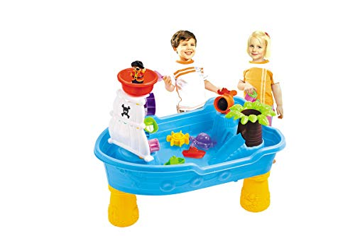 (Pirate Ship Water Table for Kids – Toddler Pirate Ship Sand /Water Table – Detachable Legs – Scoop– Cup and buckets – Indoor and Outdoor kids toy)