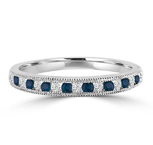 amond & Sapphire 10k Gold Milgrain Wedding Anniversary Band Ring (Pave Diamond Bezel)