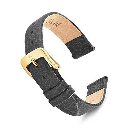 Speidel Genuine Leather Watch Band 12mm Black Fine Cowhide Replacement Strap, Stainless Steel Metal Buckle Clasp, Watchband Fits Most Watch Brands by Speidel