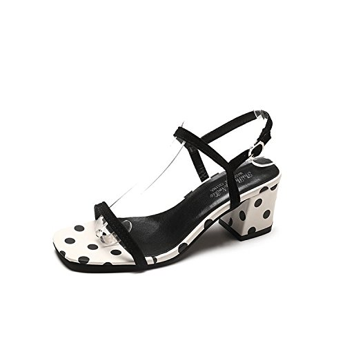 WHL Shoes High-Heeled Shoes Sandals And Stylish Buckle After The Summer Dot Bold And Like White 37 by WHL Shoes