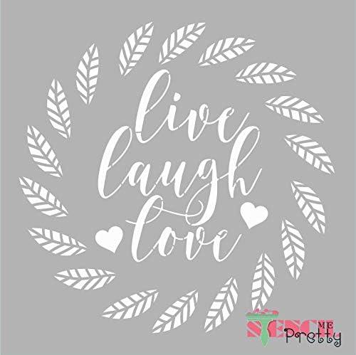 Standard Brilliant Blue Color Material 14 x 14 Live Laugh Love Home Decor Leaf Border Family Stencil-L