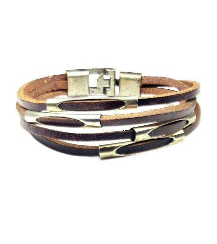 TdZ Thin Cuff Wrist Bracelet - Layered Strips (Brown)