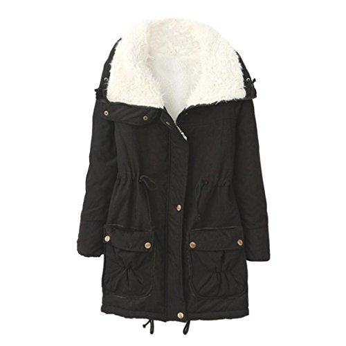 cálido vuelto Abrigo largo Abrigos de invierno mujer con Outwear de Chaqueta Xinan largos Negro cuello Parka 8E1qdwBxx