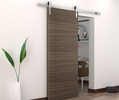 BD-FSS # Satin Nickel Brushed Stainless Steel Sus304 Modern Barn Wood Sliding Door Hardware Track Kit for Storage Room, Laundry Room, Master Bathroom, Walk-in Closet (Single Door 8FT /2440mm) by amoylimai