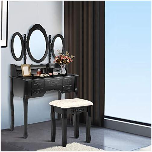 Giantex Vanity Stool Retro Wave Design Makeup Bench Dressing Stool Pad Cushioned Chair Piano Seat